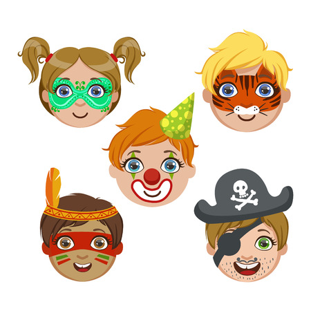 Kids Portraits With Animal Make Up Bright Color Cartoon Childish Style Flat Vector Drawings Isolated On White Background