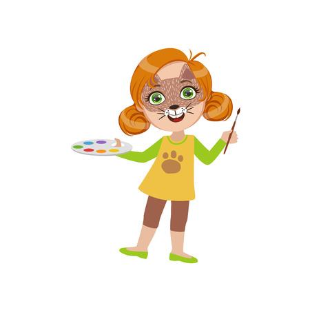 Meisje Met Cat Make Up Helder Kleur Cartoon Kinderachtig Style Platte Vector Tekening Op Een Witte Achtergrond