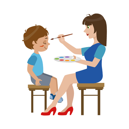 Schilderen van de kunstenaar het gezicht van de Jongen Helder Kleur Cartoon Kinderachtig Style Platte Vector Tekening Op Een Witte Achtergrond