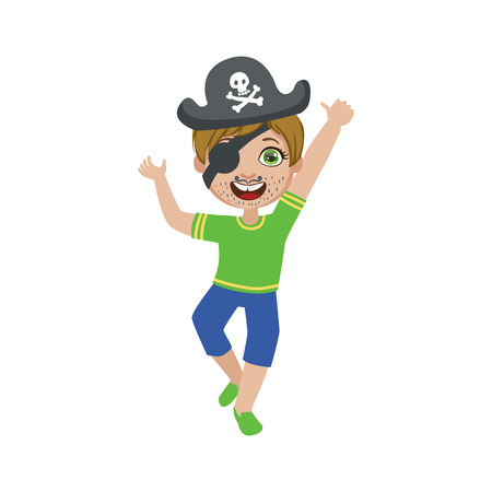 cocked hat: Boy In Pirate Make Up Bright Color Cartoon Childish Style Flat Vector Drawing Isolated On White Background Illustration