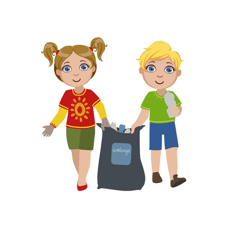 collecting: Kids Collecting Garbage Bright Color Simple Style Flat Vector Illustrations On White Background Illustration