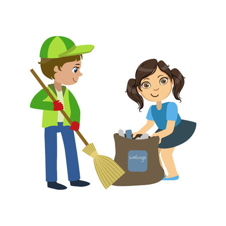 Kids With Broom And Binbag Bright Color Simple Style Flat Vector Illustrations On White Background