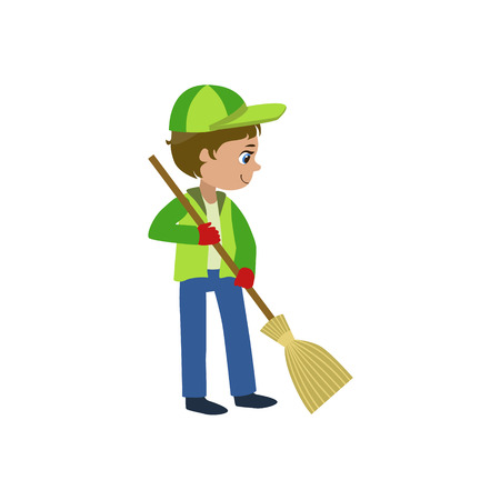 clean up: Boy With A Broom Outdoors Bright Color Simple Style Flat Vector Illustrations On White Background Illustration