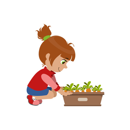 crouching: Little Girl Growing Carrots Bright Color Simple Style Flat Vector Illustrations On White Background