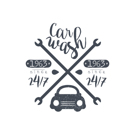carwash: Carwash Black Vintage Stamp Classic Cool Vector Design With Text Elements On White Background