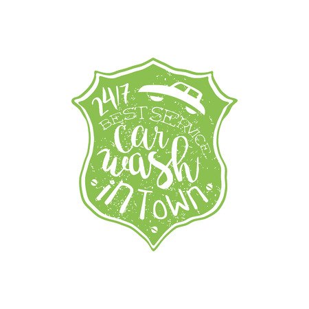 carwash: Carwash Green Vintage Stamp Classic Cool Vector Design With Text Elements On White Background