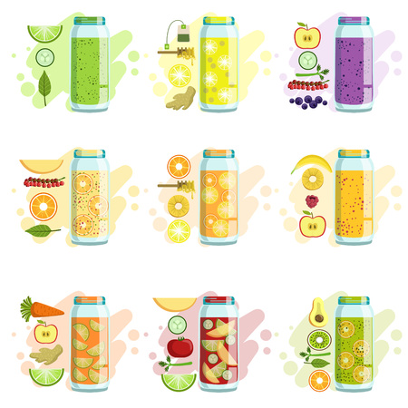 Smoothie Recipe Set Of Bright Color Isolated Vector Drawings In Simple Cartoon Design On White Background