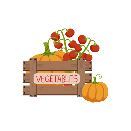 wooden crate: Vegetables In Wooden Crate Flat Simple Colorful Design Vector Illustration
