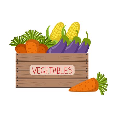 Marktstand Mit Frischem Gemüse Wohnung Einfache Bunte Design Vector ...