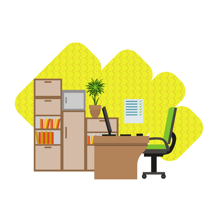 home office interior: Home Office Interior Design Flat Cartoon Stylized Vector Illustration