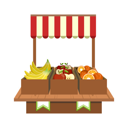 Fruit Stand On The Illustrazione mercato piatto semplice Colorful Vector Design Archivio Fotografico - 57437510