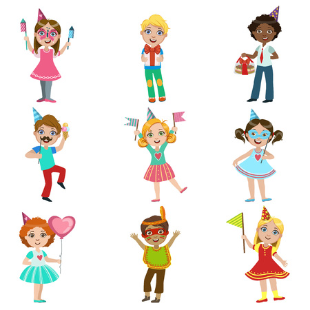 kids celebration set of bright color isolated vector drawings in simple cartoon design on white background