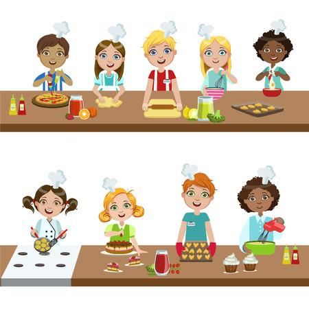 Kids In Cooking Class Bright kleur geïsoleerd vector illustratie in Eenvoudig Ontwerp Cartoon Op Witte Achtergrond
