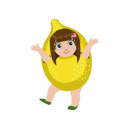 dressed: Girl Dressed As Lemon Colorful Simple Design Vector Drawing Isolated On White Background