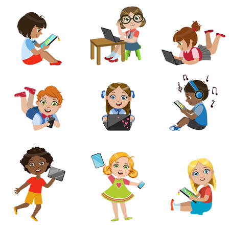 Kids With Gadgets Set Of Bright Color Isolated Vector Drawings In Simple Cartoon Design On White Background