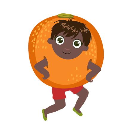 niños de diferentes razas: Niño vestido como Naranja colorido del diseño simple del vector dibujo aislado en el fondo blanco Vectores