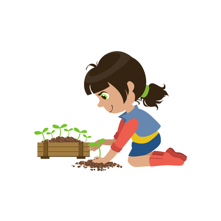 simple girl: Little Girl Gardening Colorful Simple Design Vector Drawing Isolated On White Background