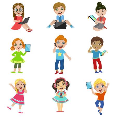 白い背景上単純な漫画のデザインのベクトル図面に分離された子供と明るい色のモダンな技術セット  イラスト・ベクター素材