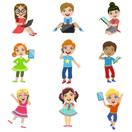 lap top: Kids And Modern Technology Set Of Bright Color Isolated Vector Drawings In Simple Cartoon Design On White Background