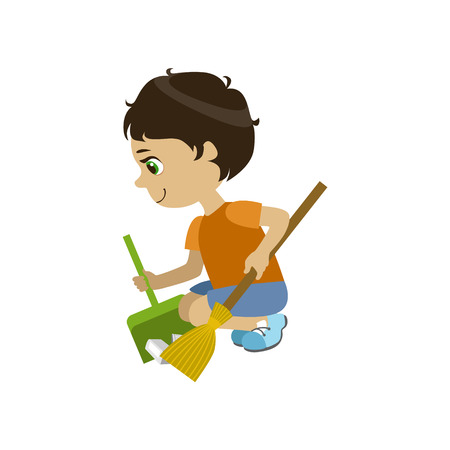 crouching: Boy Doing A Garden Clean Up Simple Design Illustration In Cute Fun Cartoon Style Isolated On White Background
