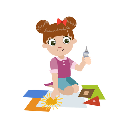 kindergarden: Girl Gluing The Paper Application Colorful Simple Design Vector Drawing Isolated On White Background Illustration