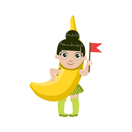 niños de diferentes razas: Vestido como plátano colorido del diseño simple de dibujo vectorial aislados en fondo blanco