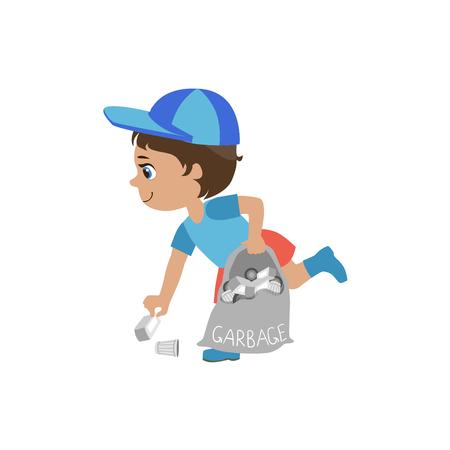 흰색 배경에 고립 된 귀여운 재미 만화 스타일에서 쓰레기 심 혼 디자인 그림을 따기 소년
