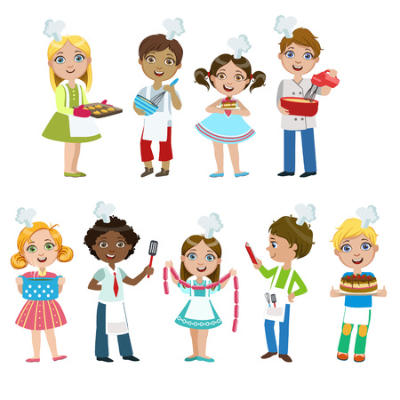 Kids On Cooking Lesson Set Of Bright Color Isolated Vector Drawings In Simple Cartoon Design On White Background Vettoriali
