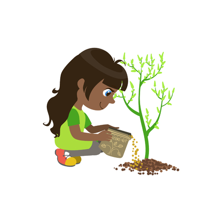 crouching: Girl Applying The Fertiliser Colorful Simple Design Vector Drawing Isolated On White Background