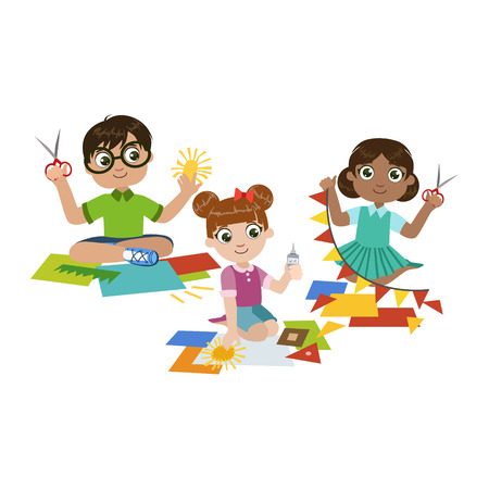 Kids Doing The Paper Craft Colorful Simple Design Vector Drawing Isolated On White Background Illustration