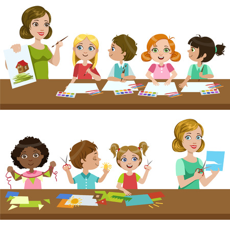 Kids In Art Class Bright Color Isolated Vector Illustration In Simple Cartoon Design On White Background