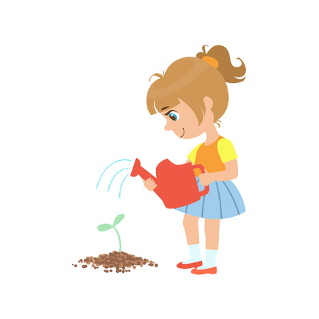 흰색 배경에 고립 새싹을 급수하는 소녀 다채로운 간단한 디자인 벡터 드로잉