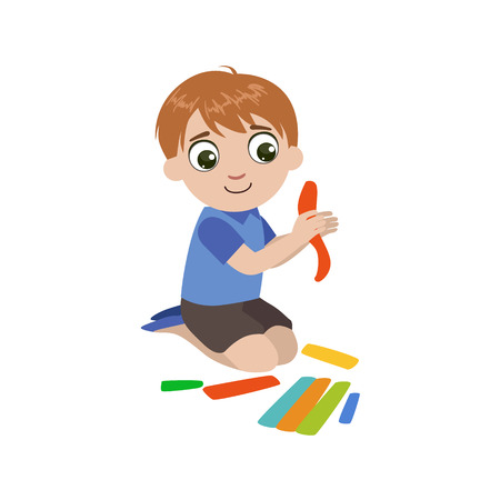 creating: Boy Preparing The Putty For Craft Colorful Simple Design Vector Drawing Isolated On White Background