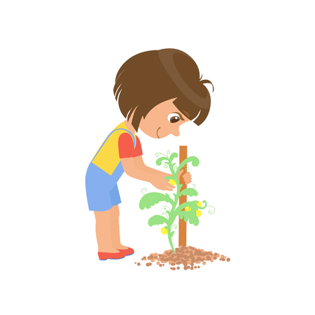 girl  care: Girl Taking Care Of A Plant Colorful Simple Design Vector Drawing Isolated On White Background