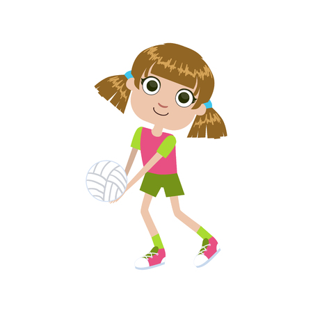 simple girl: GIrl Playing Volleyball Simple Design Illustration In Cute Fun Cartoon Style Isolated On White Background