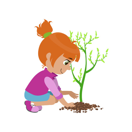 Niña de plantar un árbol colorido del diseño simple de dibujo vectorial aislados en fondo blanco