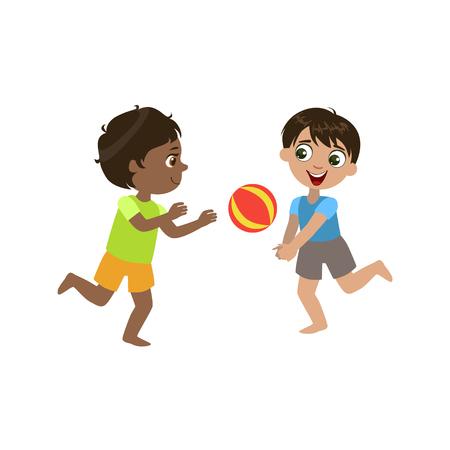 Niños que juegan a voleibol colorido del diseño simple del vector dibujo aislado en el fondo blanco Ilustración de vector