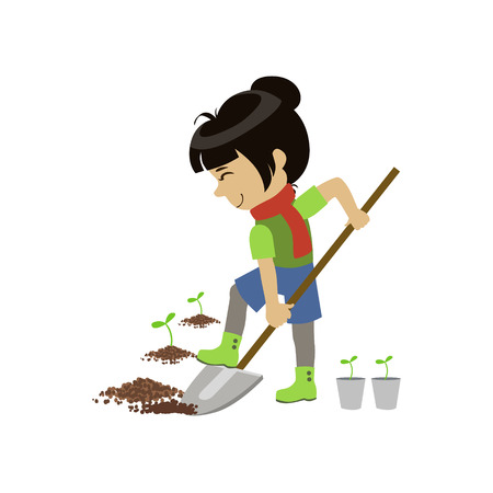 digging: Girl Digging The Ground Colorful Simple Design Vector Drawing Isolated On White Background
