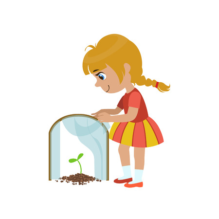 simple girl: Girl Protecting A Sprout Simple Design Illustration In Cute Fun Cartoon Style Isolated On White Background