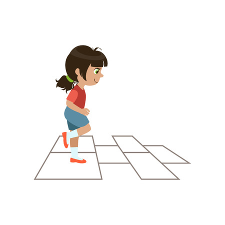 hopscotch: Girl Playing Hopscotch Colorful Simple Design Vector Drawing Isolated On White Background
