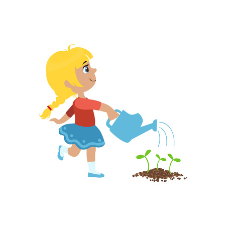 flower bed: Girl Watering Flower Bed Simple Design Illustration In Cute Fun Cartoon Style Isolated On White Background