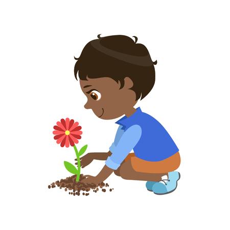 少年は、白い背景で隔離のかわいい楽しい漫画スタイルで花の簡単な設計図を植栽