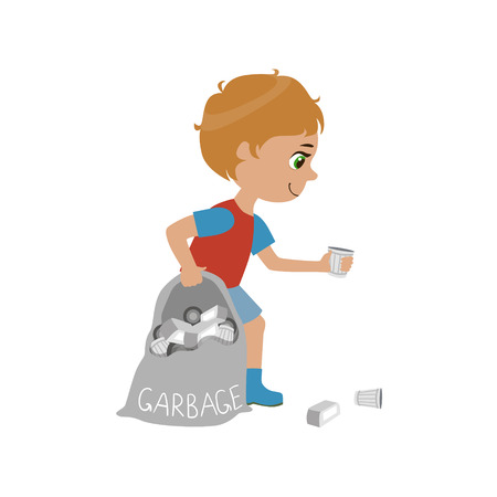 picking up: Boy Collecting Garbage Simple Design Illustration In Cute Fun Cartoon Style Isolated On White Background