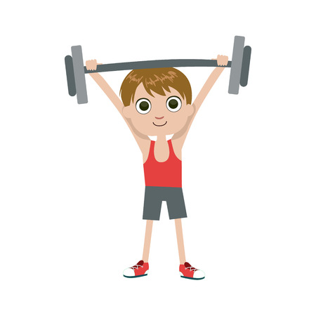 weight lifter: Young Weight Lifter Simple Design Illustration In Cute Fun Cartoon Style Isolated On White Background
