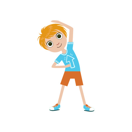 stretching exercise: Boy Doing Stretching Exercise Simple Design Illustration In Cute Fun Cartoon Style Isolated On White Background Illustration