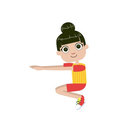 sit ups: Girl Doing Sit Ups Simple Design Illustration In Cute Fun Cartoon Style Isolated On White Background
