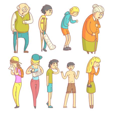 Personas con diferentes enfermedades Conjunto de piso Se describen a color pálido divertidos dibujos aislados sobre fondo blanco