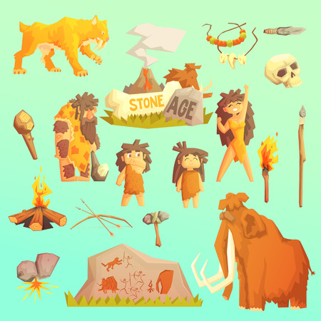 Life stone age Primitive man Ice age Cavemen. Stone age. Neanderthals. Homo sapiens. Extinct species. Evolution. Hunting. Flat design.