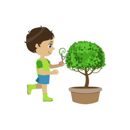 shaping: Boy Shaping The Bush Colorful Simple Design Vector Drawing Isolated On White Background Illustration