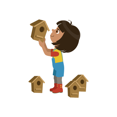 simple girl: Girl Installing Bird Houses Colorful Simple Design Vector Drawing Isolated On White Background Illustration